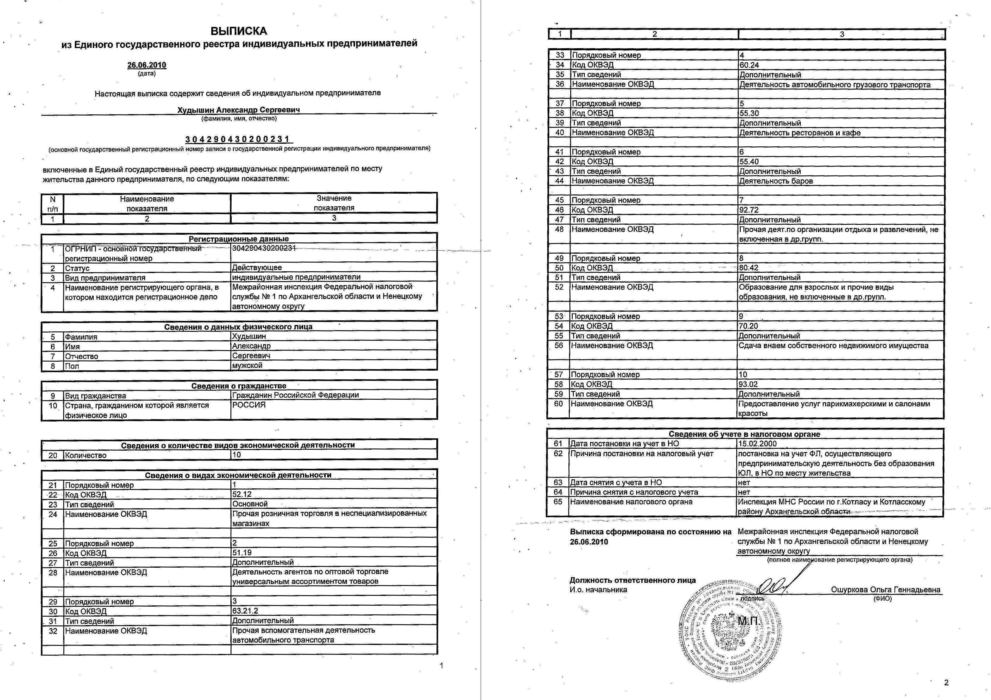 Пример выписки из ЕГРИП