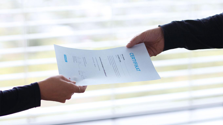 Получение сертификата о прошедшем обучении