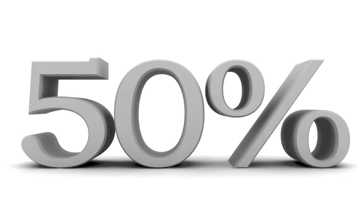 Не более 50%